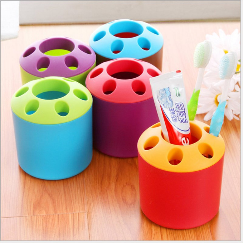 Toothbrush Holder Bracket Container 6 Hole Stand Fashion Style Tooth Brush Shelf Toothbrush holder Bathroom Tools Multifunction image