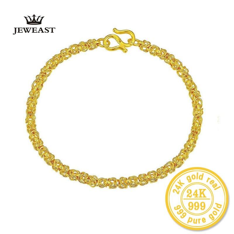 ZZZ 24k Pure Gold Bracelets Bead Bangle Technology Elegant Graceful Wedding Women Gril Gift Chain & Link Bracelet Party graceful rhinestoned crown bracelet for women