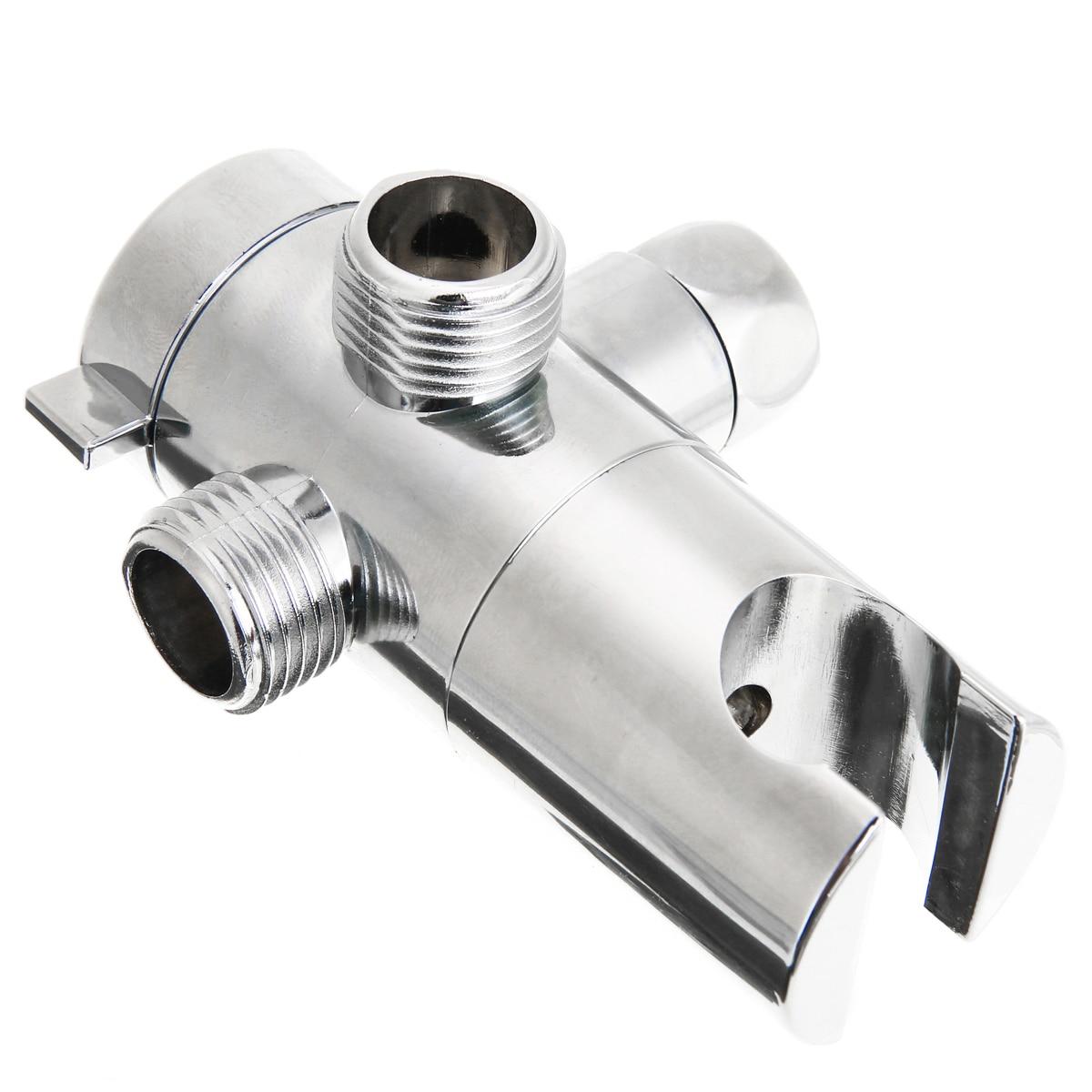Holder 3-Way Valve Shower Head Diverter Bathroom Sprayer Arm Mount Electroplatin