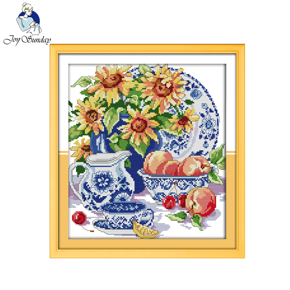 Joy Sunday Celadon Sunflower Pattern Counted Printed On Fabric 14CT 11CT Cross Stitch Kits Embroidery Needlework Sets Home Decor