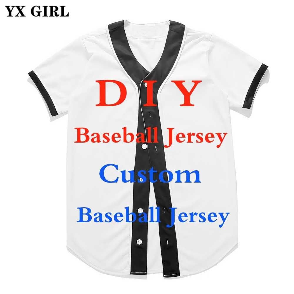 Yx Girl Fashion 3d Print Custom Baseball Jersey Summer Short Sleeve