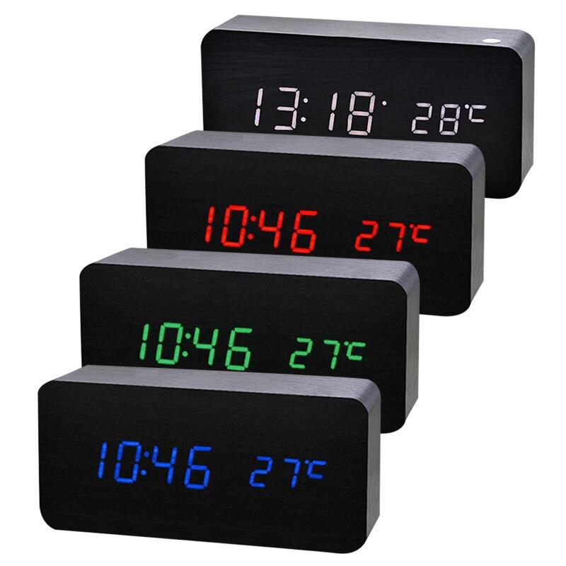 LED Alarm Clock Holz Digitale Temperatur Elektronische Klingt Steuer Für Desktop Tisch Home TB Verkauf