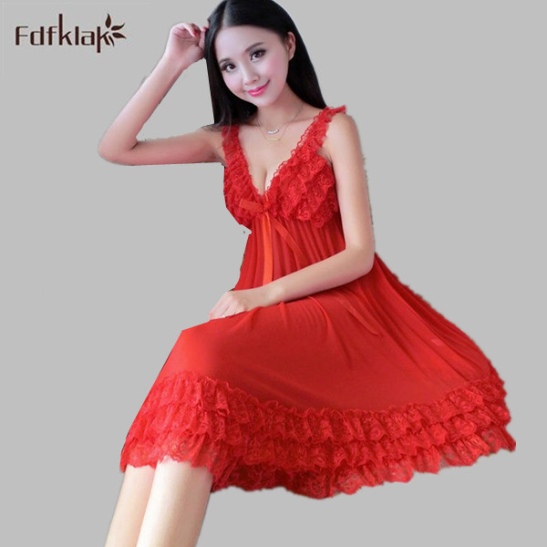 Sexy Temptation Nightgowns Women Sleeveless Night Sleepwear Dress V-neck Summer Nightgown Ladies Nightshirts Red/Black