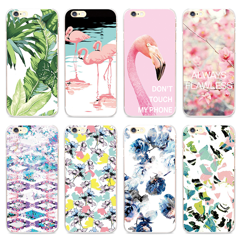 Lovely Pink Flamingo Bird Floral Pattern Phone Case for iPhone 4 4S SE 5 5S 5C Clear Cases 6 6S 7 Plus Back Cover Capinha