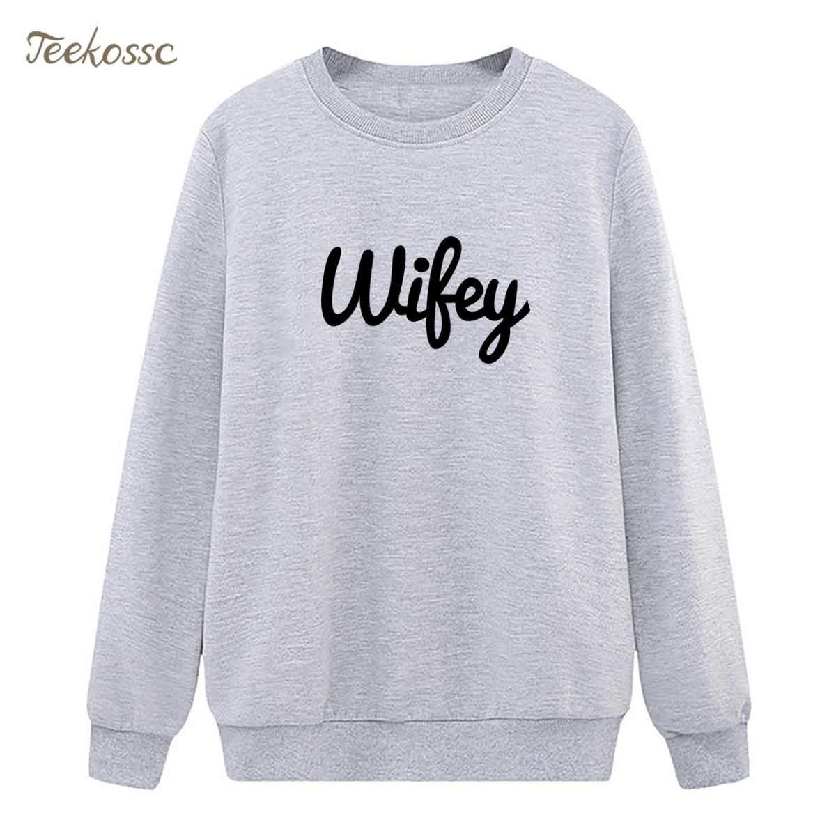 New Arrival WIFEY Letters Print Sweatshirt Casual Funny Hoodie Winter Autumn Women Lasdies Pullover Loose Fleece Brand Clothing
