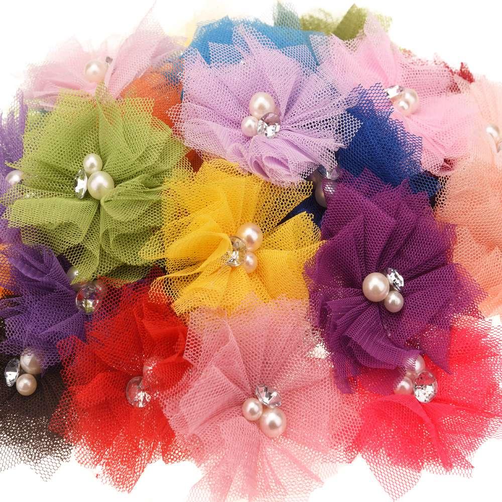 320pcs Boutique Hair accessories Mesh Flower Cute DIY Flowers Accessory Headwrap No Barrette Wedding decoration flower
