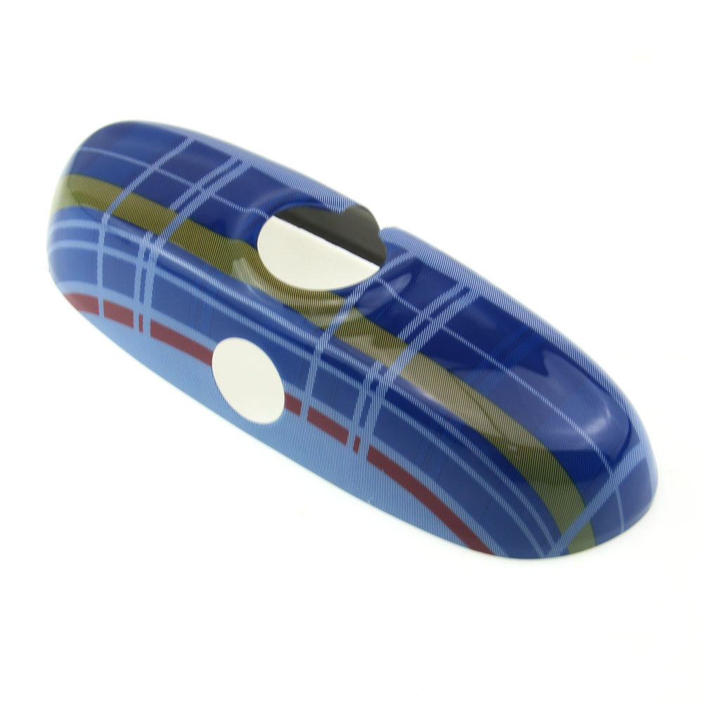Blue font b Tartan b font Color Stripes Interior Rear View Mirror Cover Cap For MINI