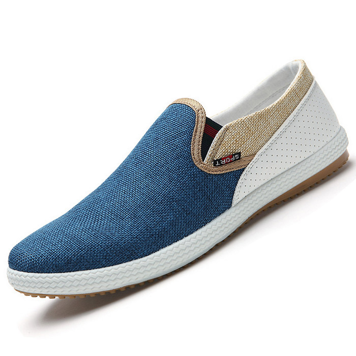 2016 New Summer Men Canvas Shoes Breathable Fashion Casual Flats Slip-on Man Loafers Comfortable Driving Blue Green White