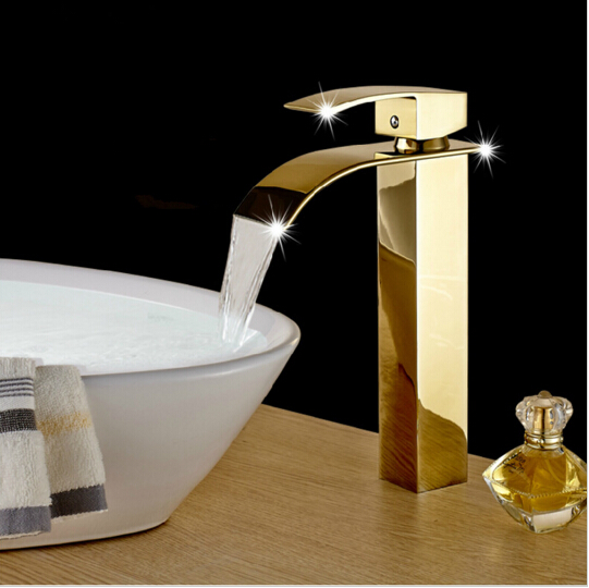 Hot & cold Gold Bathroom Waterfall Basin Faucets Deck Mounted Bathroom Sink faucet basin faucet Mixer basin tap torneira cozinha hpb brass morden kitchen faucet mixer tap bathroom sink faucet deck mounted hot and cold faucet torneira de cozinha hp4008