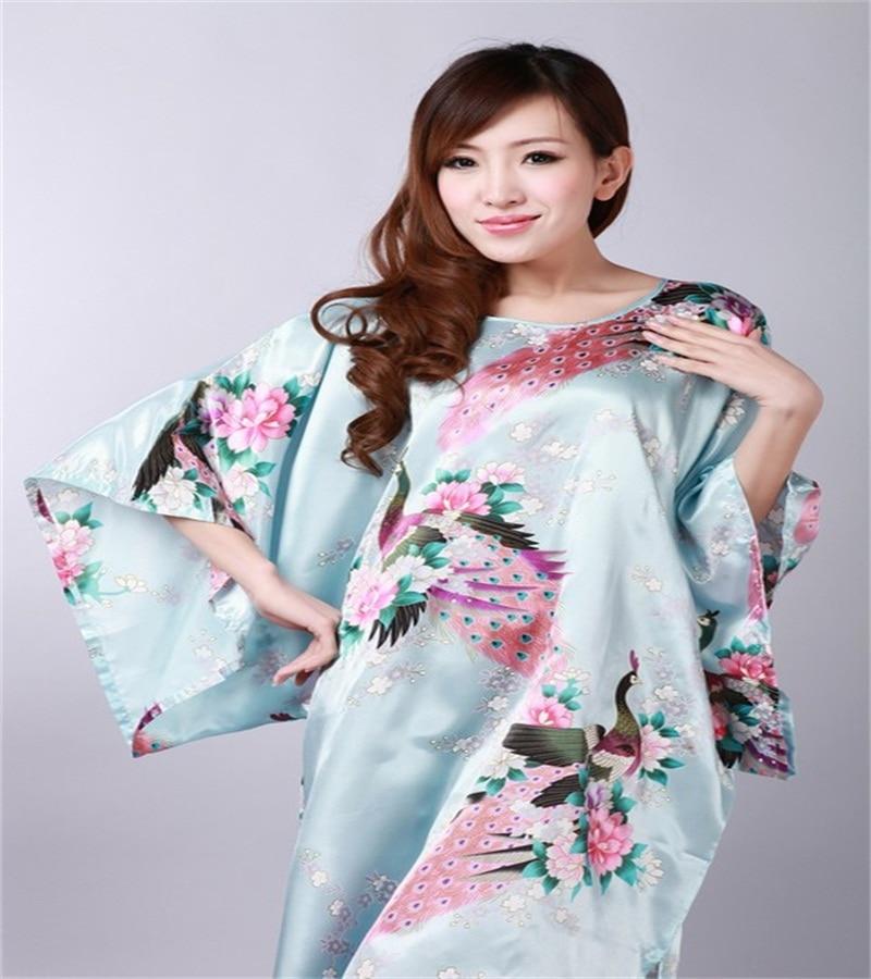 Free Shipping Black Bathrobe Chinese Womens Silk Rayon Robe Kimono Gown peafowl One Size Thirteen Colors Wholesale