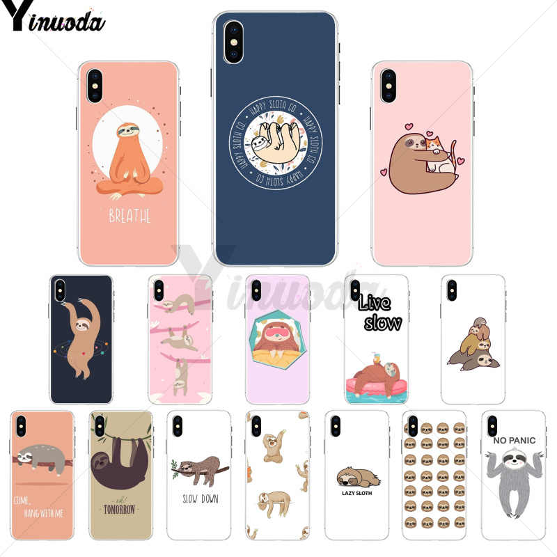 Yinuoda Tree Sloth TPU Soft Phone Cover for Apple iPhone 8 7 6 6S Plus X XS MAX 5 5S SE XR Cover