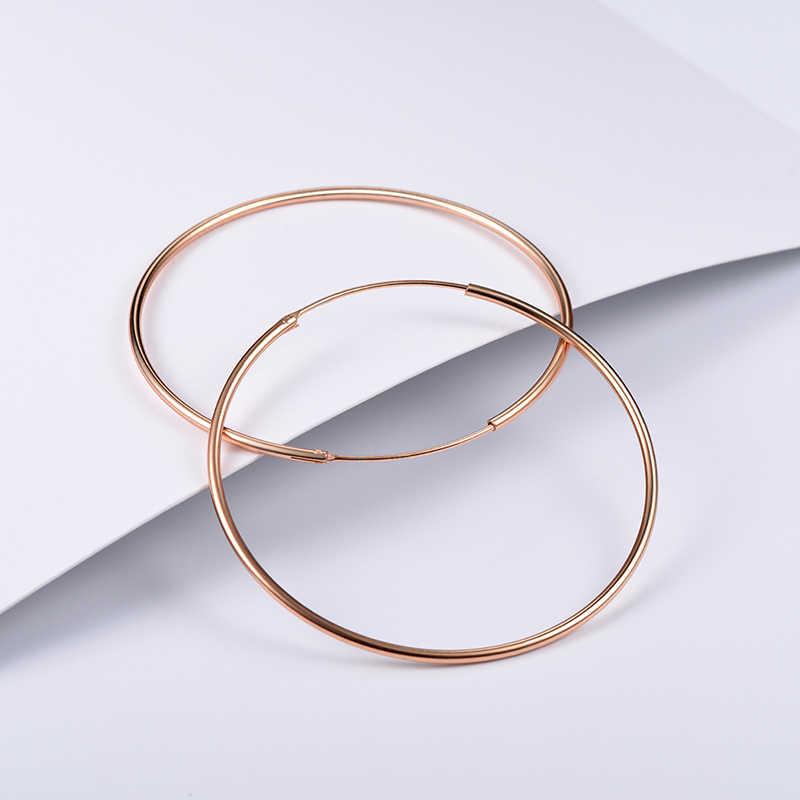 195c28caa ... U7 925 Sterling Silver Hoop Earrings Round Design Geometric Wedding Big  Earring 2018 Mother's Day Gift