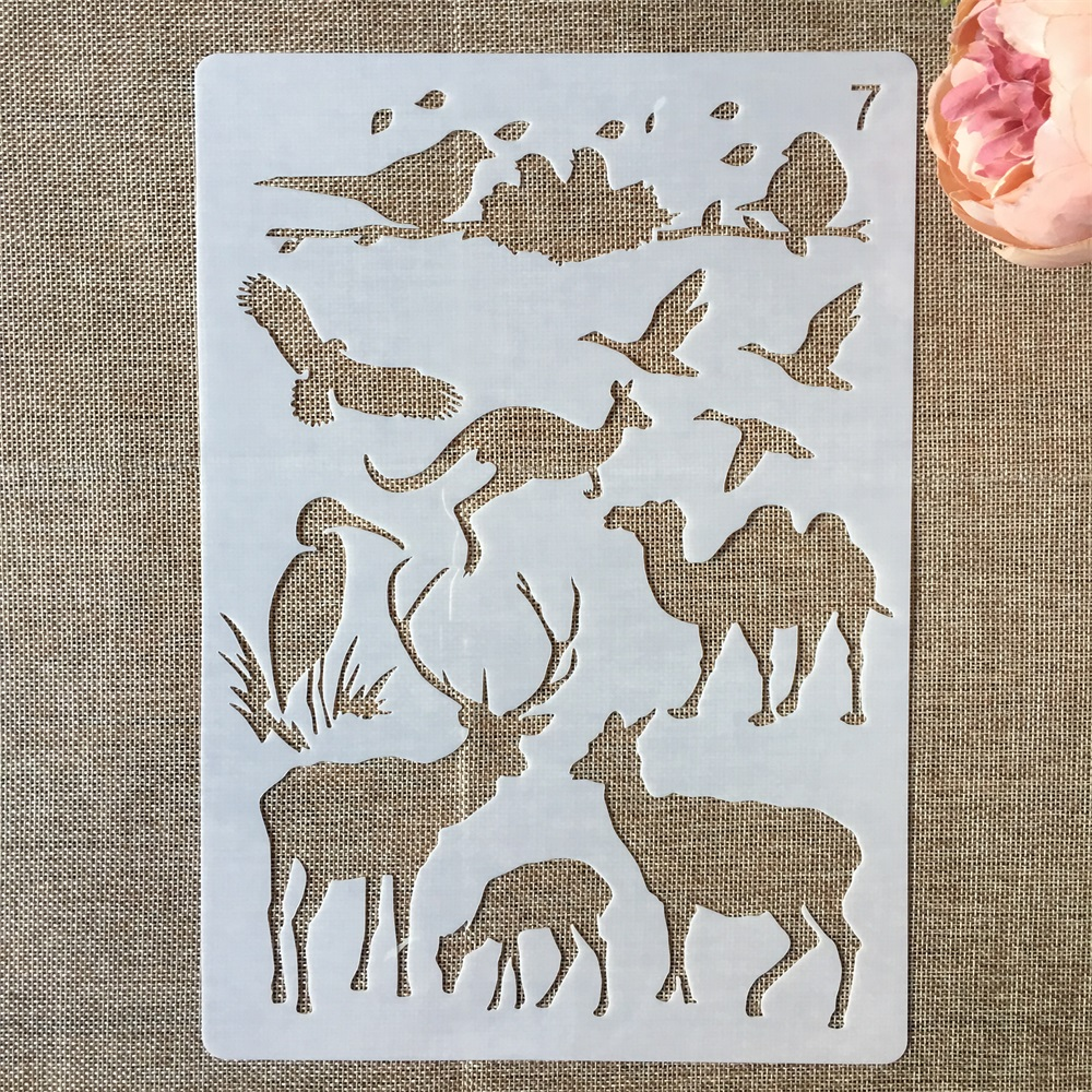 1Pcs 29*21cm Camel Kangaroo Deer Bird DIY Layering Stencils Painting Scrapbook Coloring Embossing Album Decorative Template