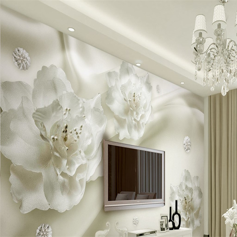 3D Custom Wall Murals European Style Wallpapers Living Room Fresh Elegant White Rose Flowers Wallpaper Luxury Flowers Wallpapers the ivory white european super suction wall mounted gate unique smoke door