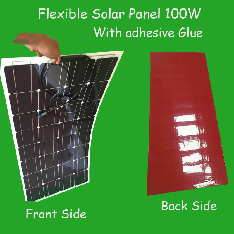 1pcs Flexible Solar Panel With Double Sided Glue Tape 100w