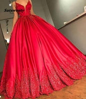 Red Ball Gown Evening Dresses with Spaghetti V Neck Court Train Lace Appliques Beadeds Sequins Sexy Plus Size Party Prom Gowns