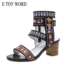E TOY WORD 2019 New Embroidered womens sandals summer bohemian open toe Retro thick heel Roman women shoes