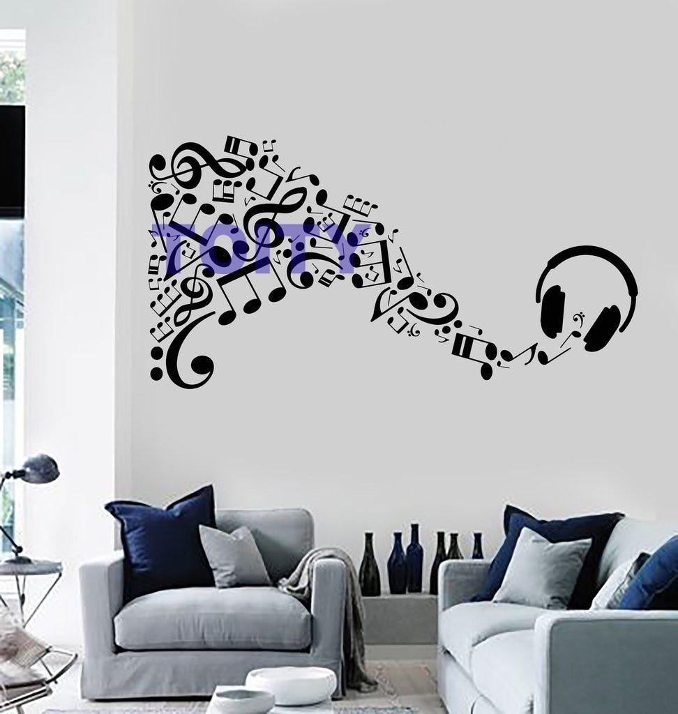 Music Vinyl Wall Decal Sticker Headphone Musical Notes Art ...