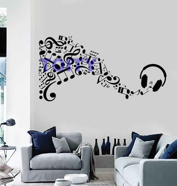 music vinyl wall decal sticker headphone musical notes art design