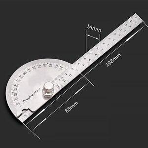 Image 5 - 14.5cm 180 graus ajustável transferidor multifunções de aço inoxidável ângulo de cabeça redonda régua ferramenta medição matemática