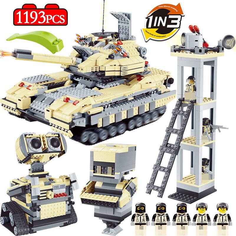 1193 pièces militaire T90 principal réservoir de bataille blocs de construction compatibles Legoings WW2 mur Anti-terrorisme Robot Police briques garçons jouets