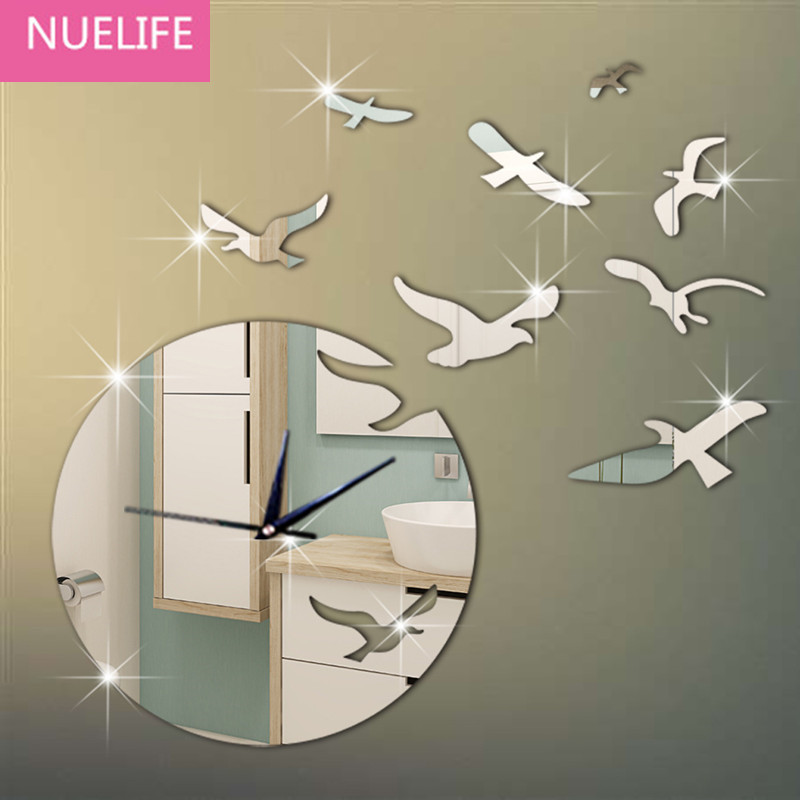 Birds flying pattern mirror wall stickers living room bedroom children room TV sofa background wall decoration mirror stickers