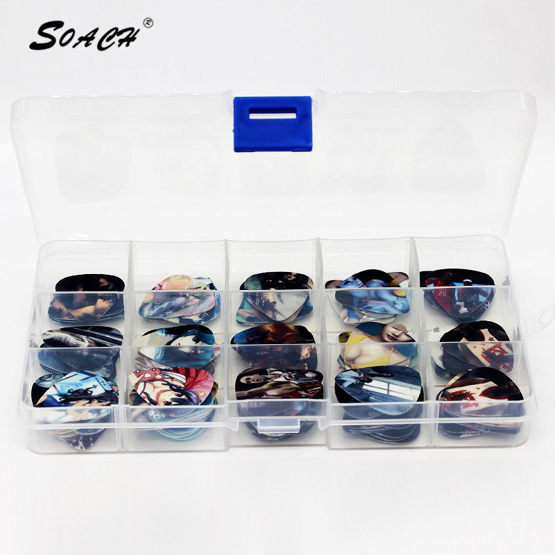SOACH New arrivals Hot 100PCS 0.46-1.0mm guitar picks Mixed 15 grids box plectrum mix pick thicknesses parts Multi-color