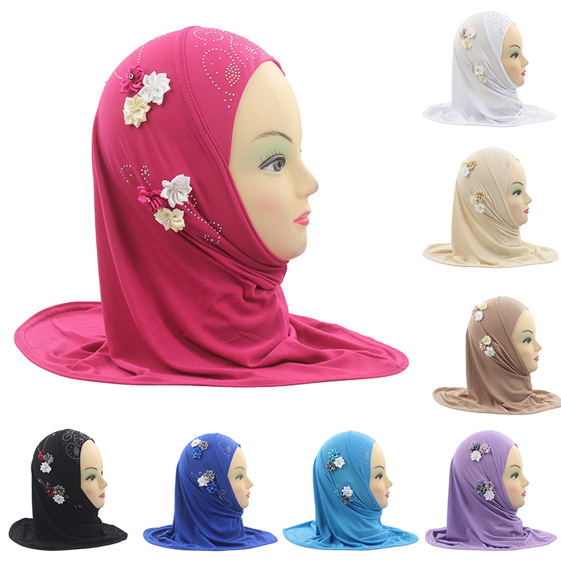Fashion Accessories Girls Kids Muslim Hijab Islamic Arab Scarf Shawls With 6 Beautiful Flowers