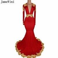 JaneVini Sexy Глубокий V шеи в африканском стиле красные платья для выпускного плюс Размеры с длинными рукавами и золотым аппликации вышитый бисе
