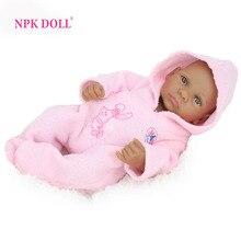 NPKDOLL 10 inch 25 cm Mini Baby Reborn African American Baby Doll Black Girl Full Silicone Body Reborn Baby Dolls For Girls