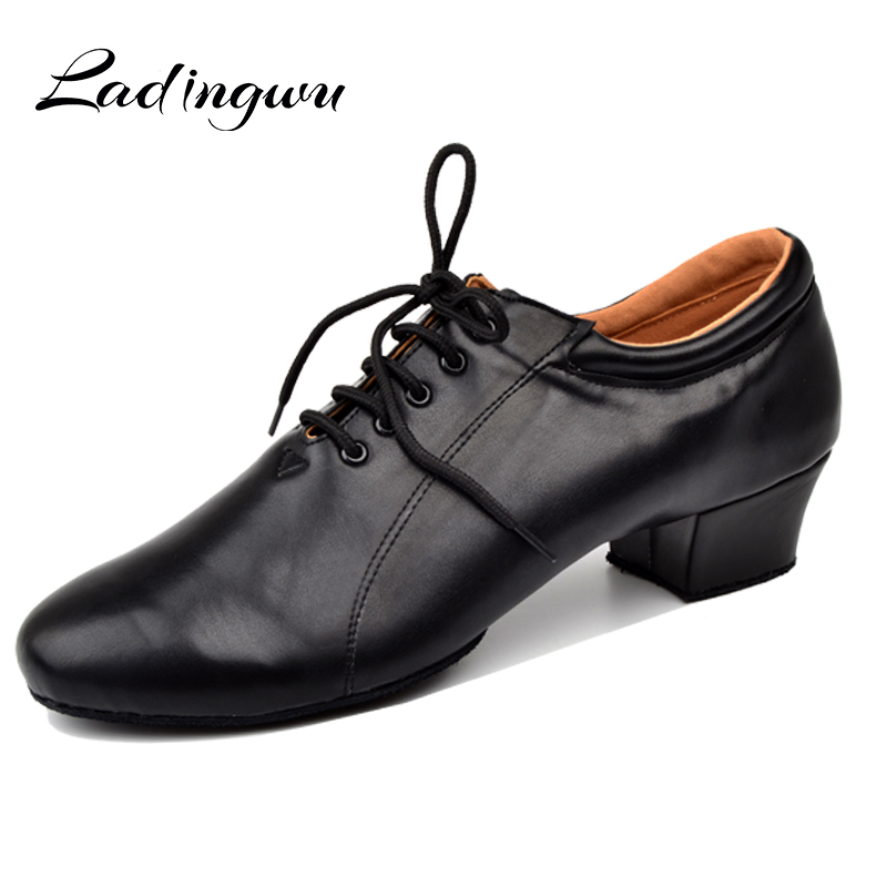 Ladingwu Latin Dance Shoes Men's 100% Genuine Leather Ballroom Dancing Shoes Men Soft Bottom Social Party Shoes Low Heel 4.5cm