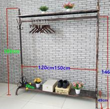 Landing display rack of retro Tieyi clothing store, clothes hanger Zhongdao in mens and womens loading