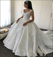 Fabulous Wedding Dress with Royal Train Floral Appliques Pleat Well Designed Ball Gown For Bride V Back Bridal Dress Winter Wear