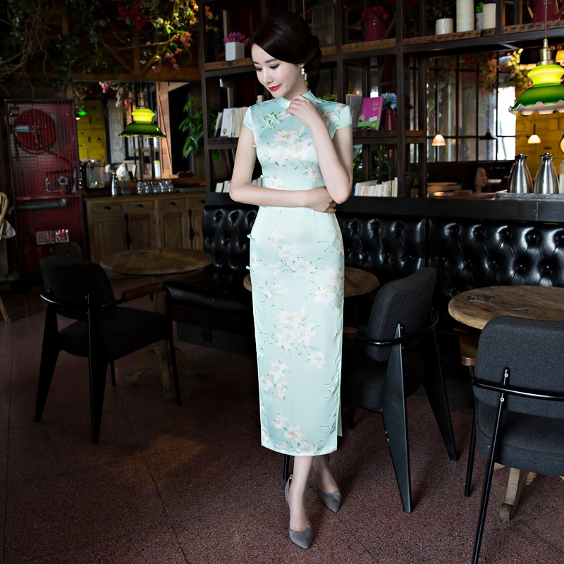 2019 Spring <font><b>Sexy</b></font> <font><b>Lady</b></font> Cheongsam Vintage Chinese style <font><b>Dress</b></font> Fashion Womens Rayon Qipao Slim Party <font><b>Dresses</b></font> Button Vestido Flowers image