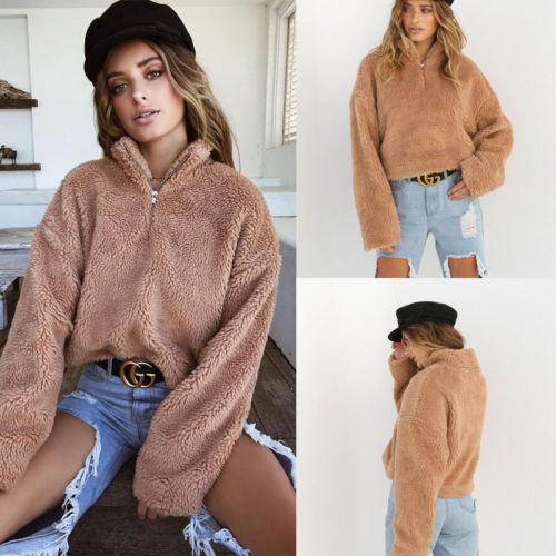 bddafe29a07 Autumn Winter New Women Winter Fluffy Crop Turtleneck Pullover Knitted  Plush Warm Zip up Loose Sweater Jumper Knitwear Top