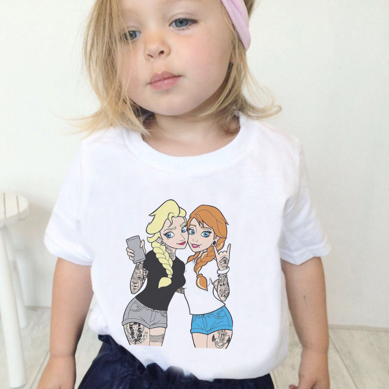 New Fashion Girls Shirts Princess Print Beautiful Cartoon Casual Kawaii T Shirts Girl Vintage Round Neck Short Sleeve Girls Tops