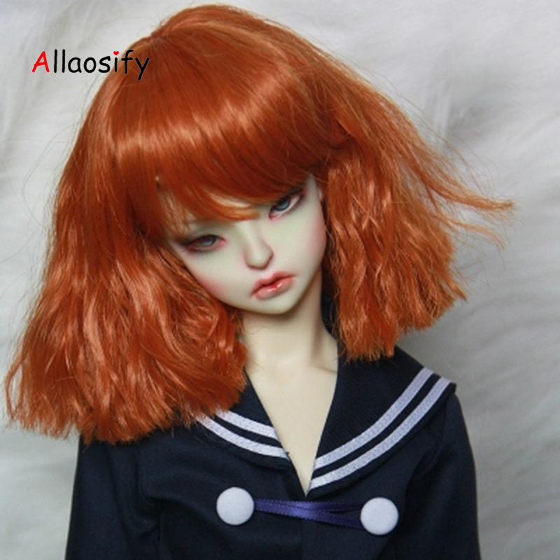 Allaosify bjd hair 1/6 1/3 1/4 BJD Wig Dollfie Doll Wig High Temperature wig Hair Orange and white allaosify bjd wig 1 3 high temperature wig boy short hair doll wigs with imitation mohair air bangs back bjd hair