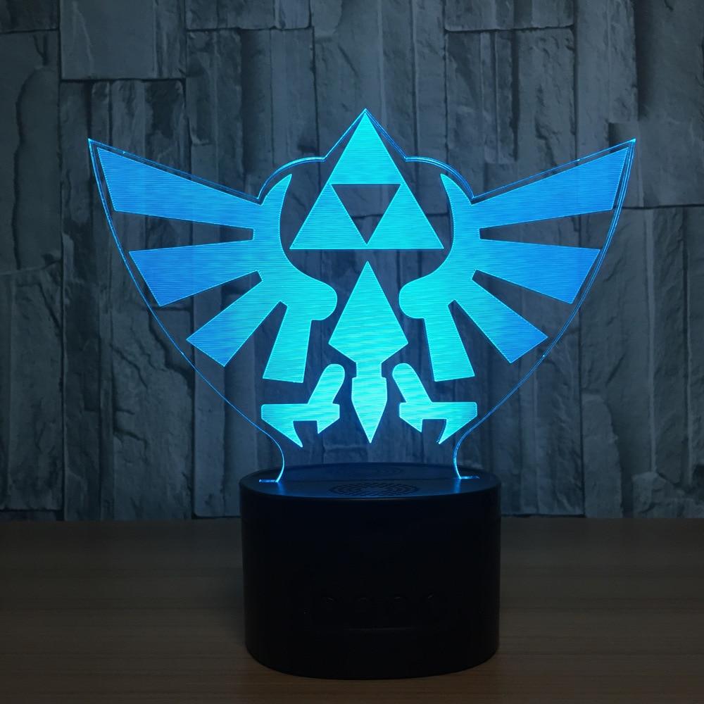 The Legend of Zelda 3D Table Lamp Link Zelda BREATH OF THE WILD LINK Nightlight 7 Color Changing Visual Illusion Light the legend of zelda cosplay weapons link swords shield pendants necklace 12pcs set anpd2164