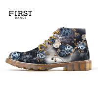 Spring Winter Girls Martin Shoes High Top Women Casual Shoes Print Party Flats Female Ankle Shoes