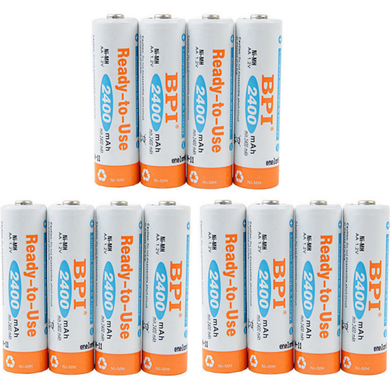 12pcs! Bpi 1.2v 2400mah Aa Battery Nimh Ni-mh Lsd Aa Rechargeable Battery With 0.24a Charging Current For Toys Camera Headlamp Convenience Goods