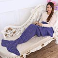 Otoño Invierno del Hilado Hecho Punto Mermaid Tail Manta Súper Suave Cama Para Dormir Manta de Ganchillo Hecho A Mano Anti-Pilling Portátil Sirena