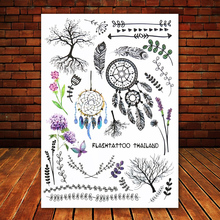 Big Black tatuagem Taty Body Art Temporary Tattoo Stickers Indian Tribe Floral Feathers Tree Glitter Tatoo Sticker