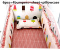Promotion! 6pcs baby cot crib bedding set cartoon animal baby crib set Quilt Bumper Sheet Skirt,(bumpers+sheet+pillow cover)