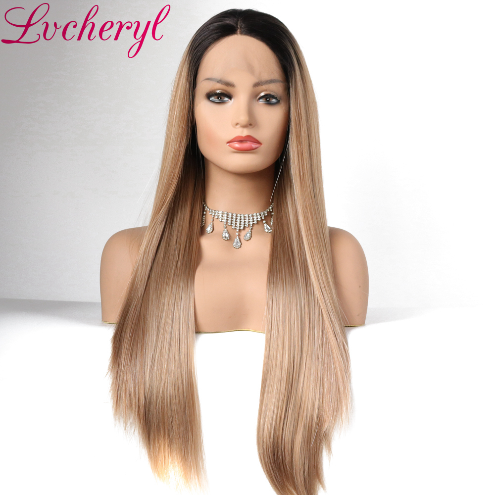 Natural Long Silky Straight Ombre Ash Blonde Dark Roots High Density Glueless Synthetic Lace Front Wigs