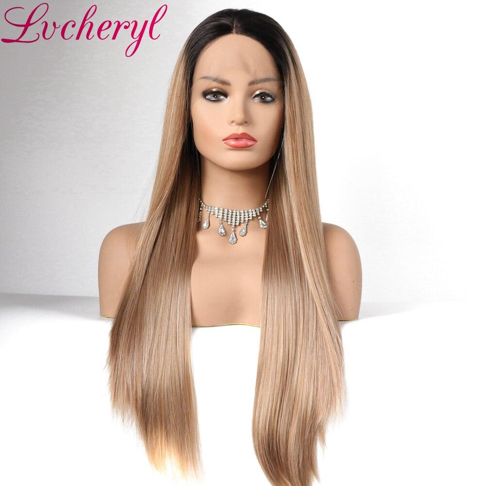 Lvcheryl High Temperature Fiber Hair Ombre Mörka Rötter Till Blonda - Syntetiskt hår