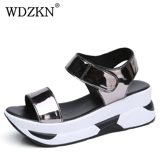 WDZKN 2020 Summer Shoes Women Sandals Open Toe Wedges Heel Sandals Mirror PU Leather Women Casual Platform Sandals Black Blue