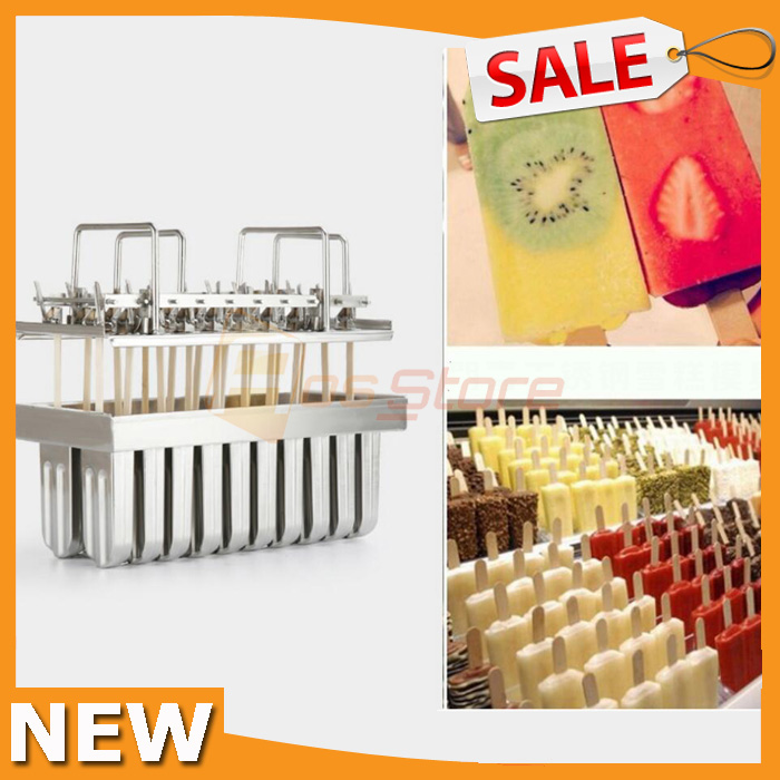 20pcs Stainless Steel Ice Cream Molds Bars Stick Holder Ice Pop Molds Maker Ice Lolly Popsicle
