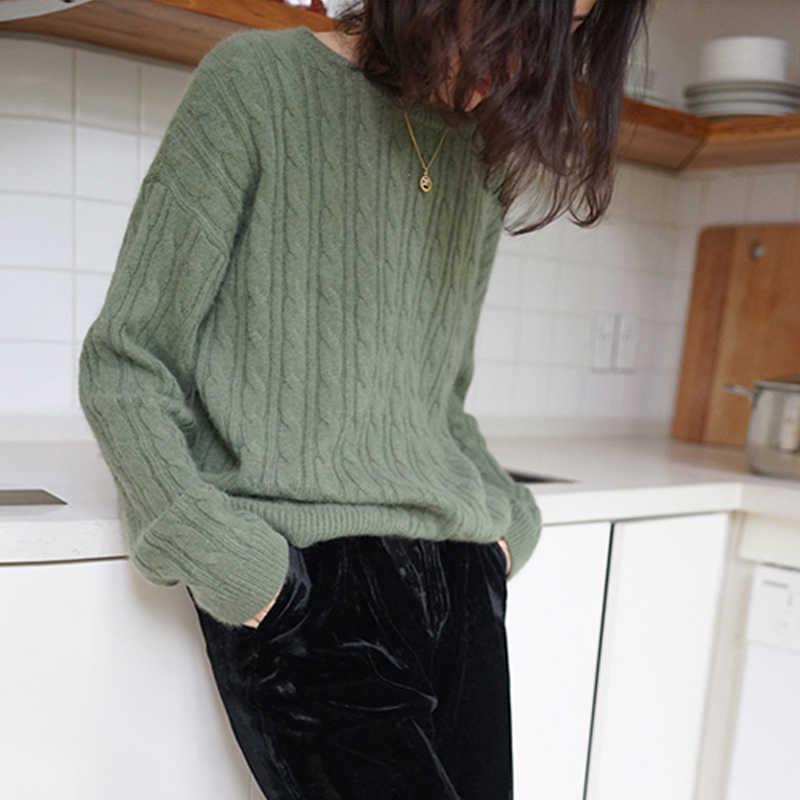 Suéter de cachemira para mujer, cuello redondo, corto, suelto, engrosamiento, torcido, color sólido, suéteres de punto para mujer, otoño, invierno, pulóver