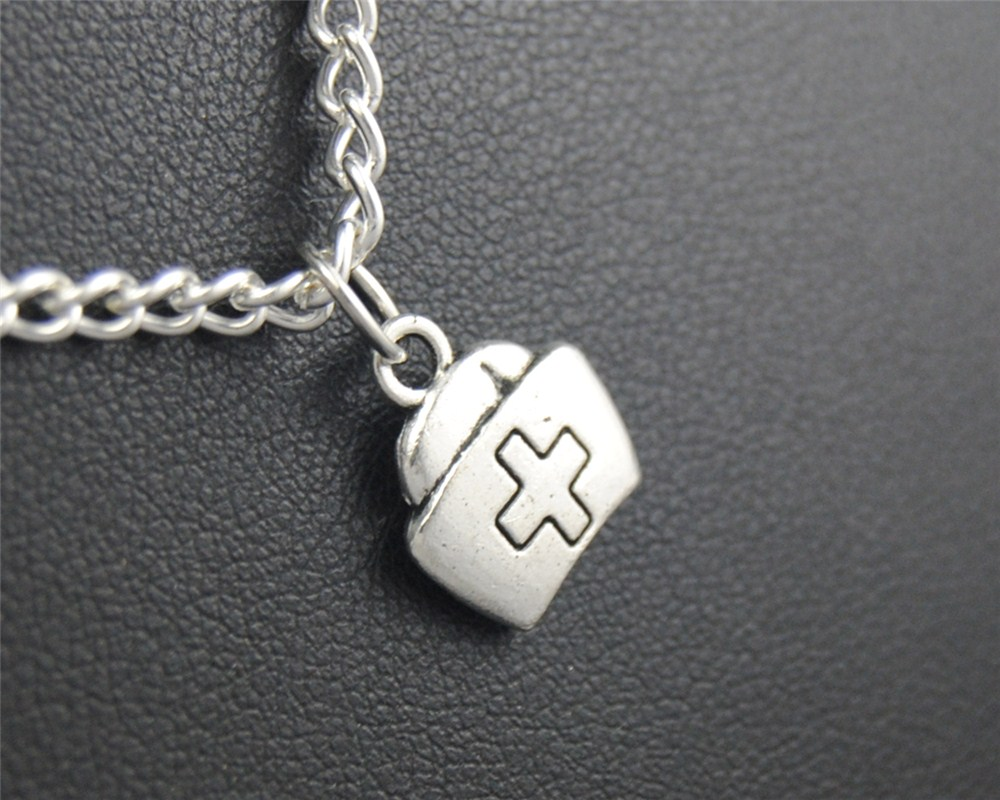 1pc nurse cap Metal Alloy Pendant Necklace Fashion DIY Handmade Jewelry Gift for women E426