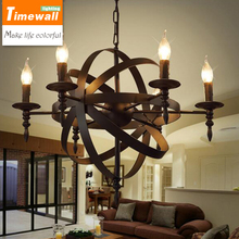 American country Iron Chandelier retro bedroom candle industry European meal bar cage Pendant